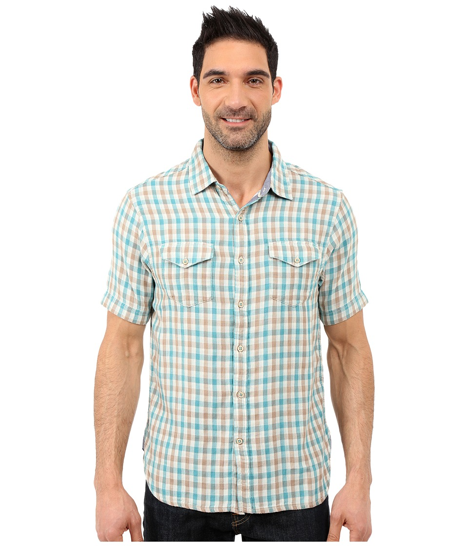 True Grit - Beach Checks Short Sleeve Shirt Two-Pocket Combed Cotton Double Light (Aqua/Grey) Men