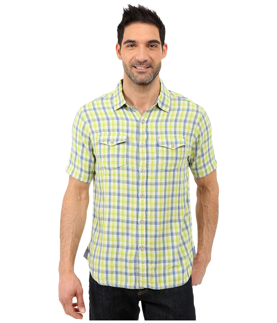 True Grit - Beach Checks Short Sleeve Shirt Two-Pocket Combed Cotton Double Light (Blue/Green) Men's Short Sleeve Button Up