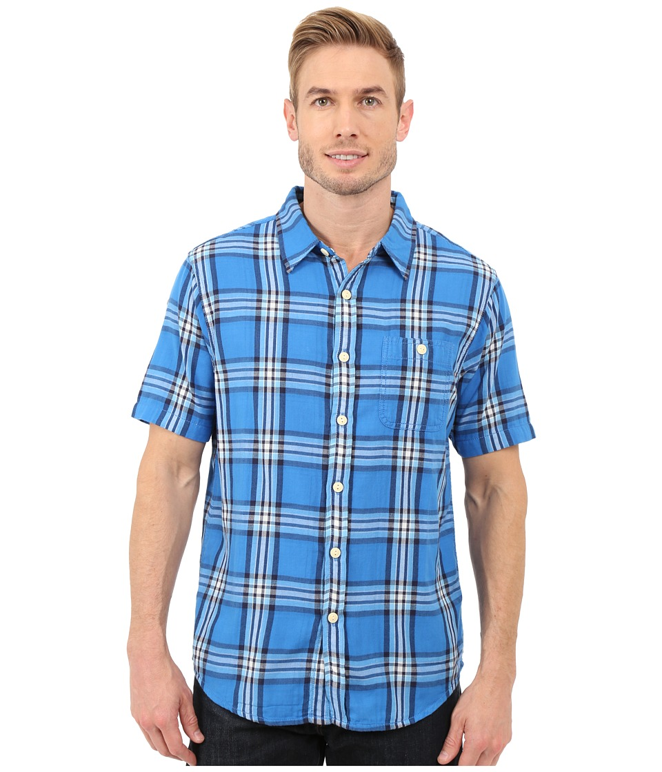 True Grit - Indigo Surf Plaids Short Sleeve One-Pocket Shirt w/ Contrast Chambray (Blue) Men's Clothing