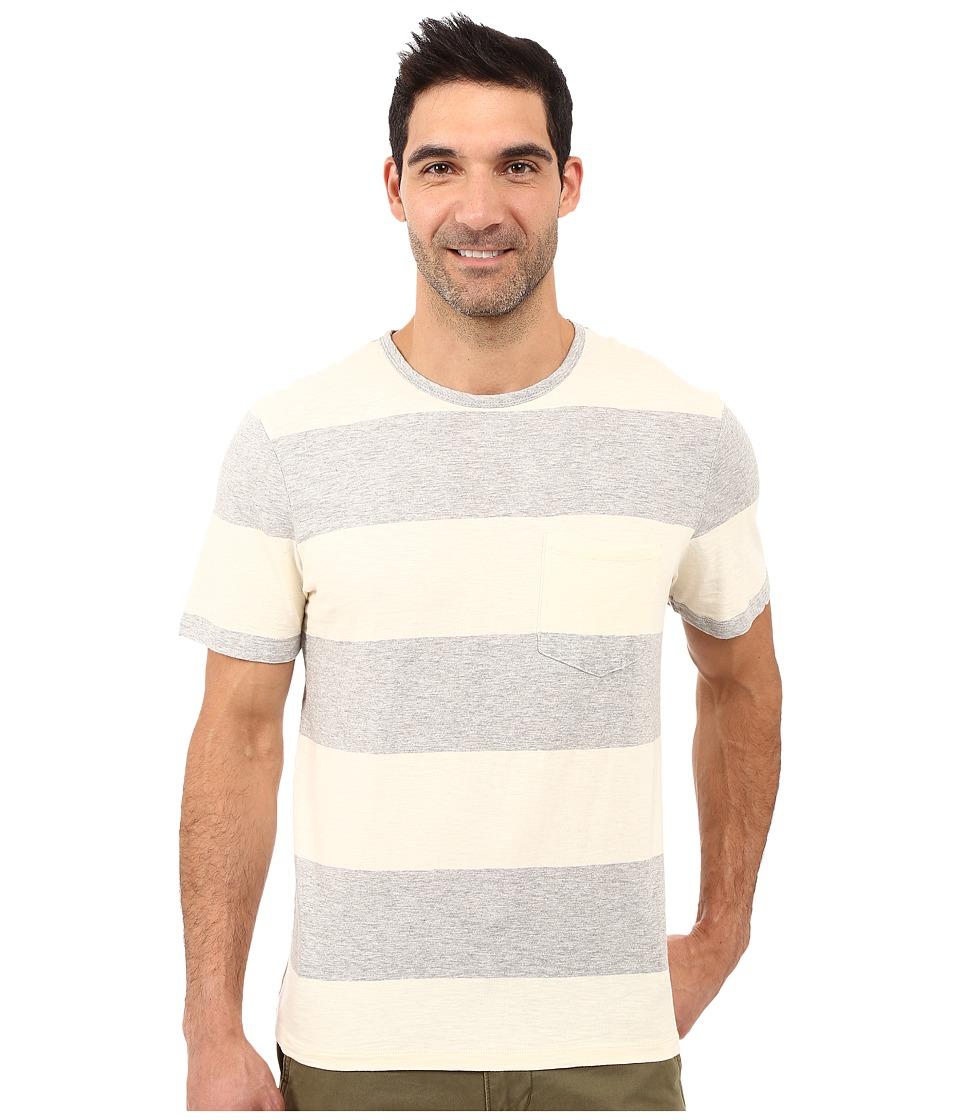 True Grit - Heather Wide Stripe Short Sleeve Crew Tee w/ Pocket (Natural) Men's T Shirt