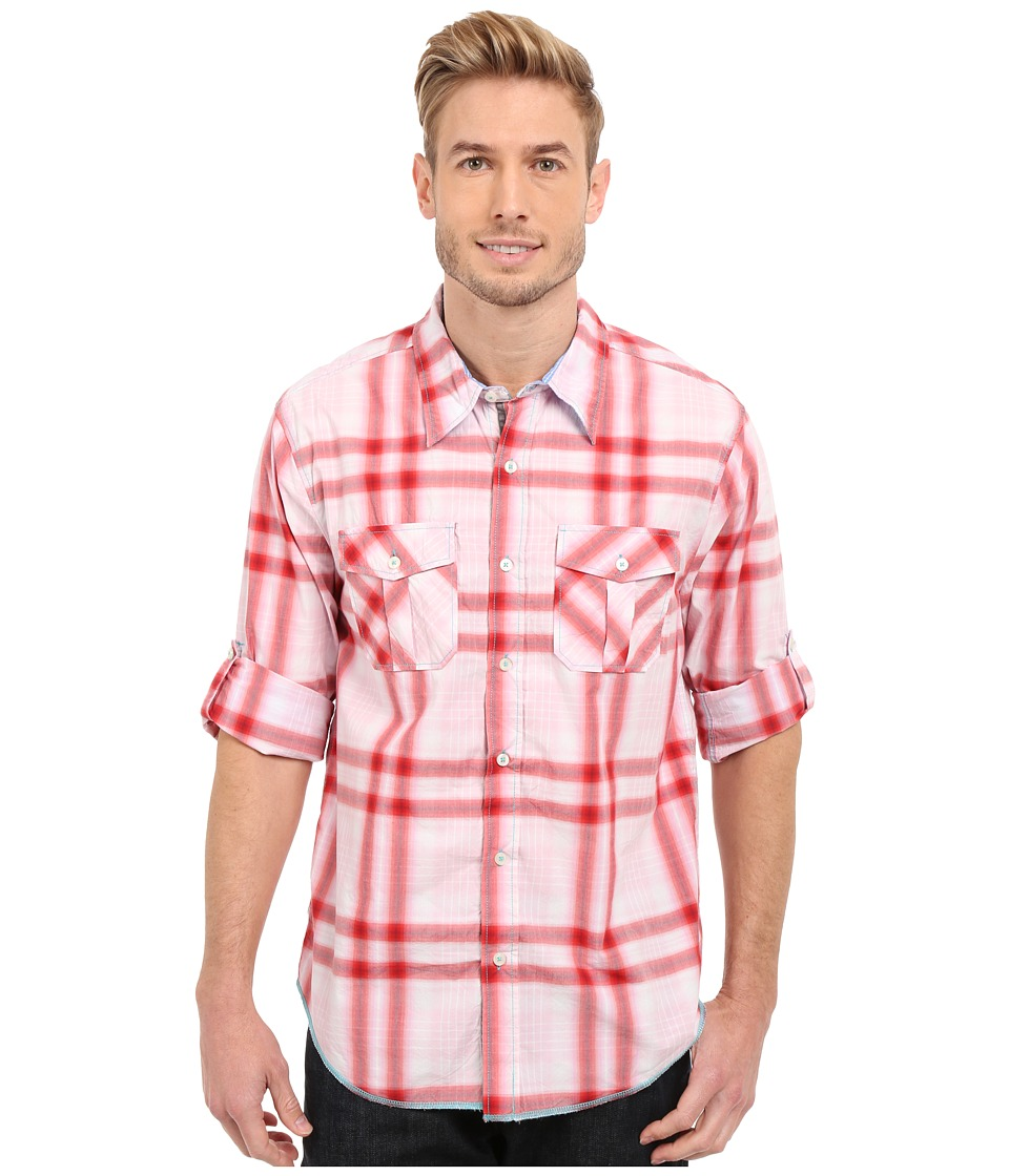 True Grit - Beachhouse Plaid Combed Cotton and Vintage Wash Long Sleeve Shirt (Washed Red) Men's Long Sleeve Button Up