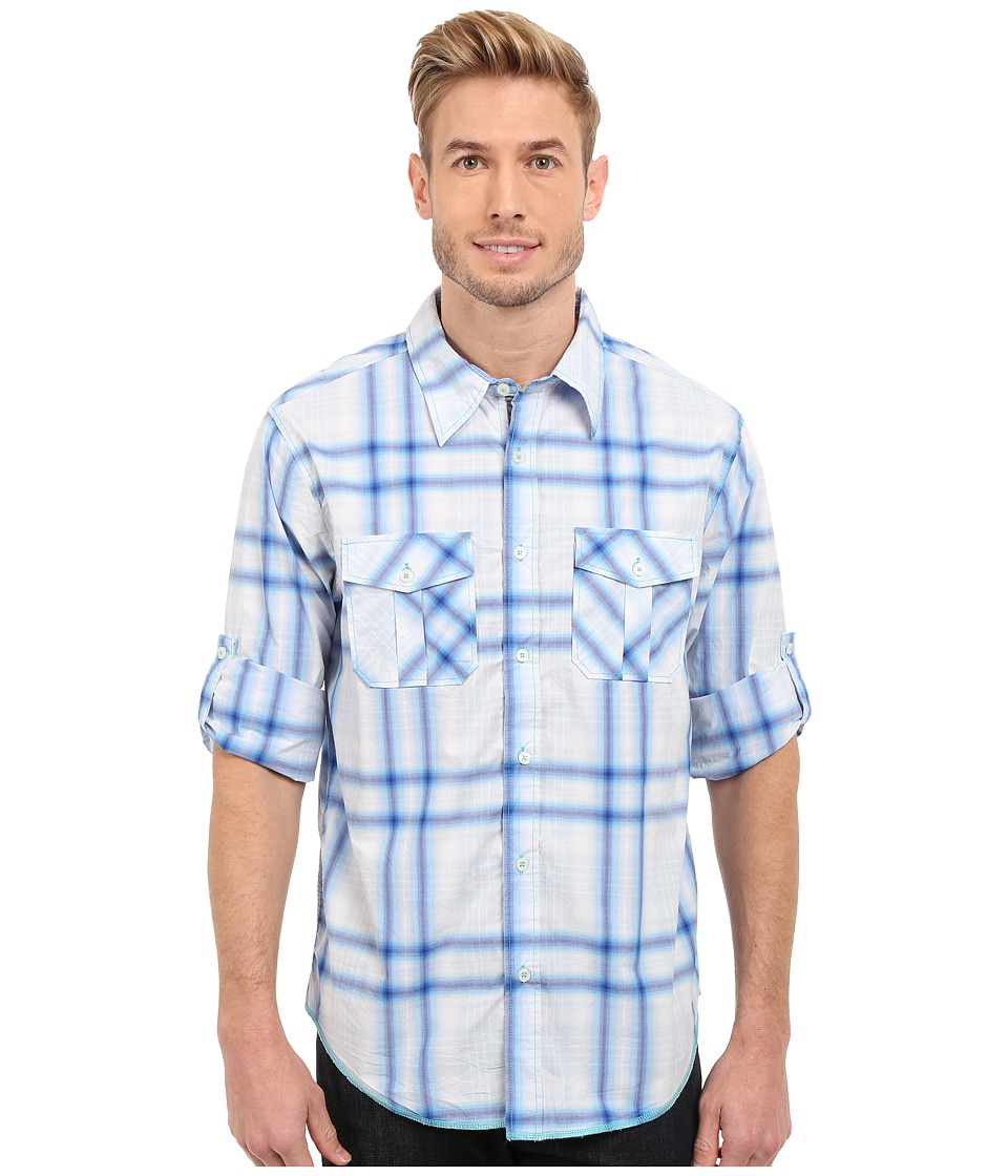True Grit - Beachhouse Plaid Combed Cotton and Vintage Wash Long Sleeve Shirt (Ocean Sapphire) Men's Long Sleeve Button Up
