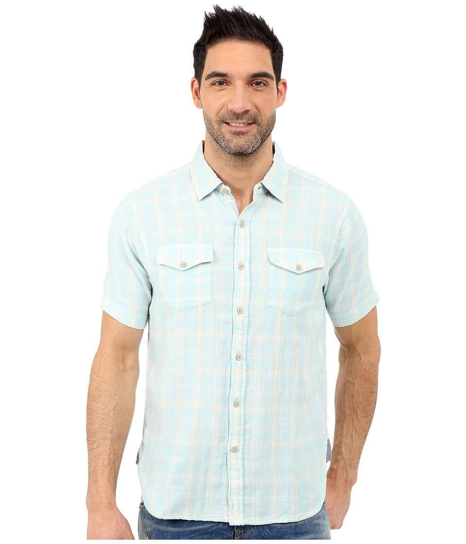 True Grit - Mojito Short Sleeve Plaid Shirt w/ Contrast Chambray (Sky) Men's Short Sleeve Button Up