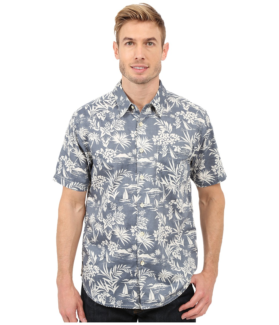 True Grit - Summertime Mai Tai Short Sleeve Shirt Combed Cotton w/ Stitch Detail (Blue) Men's Clothing