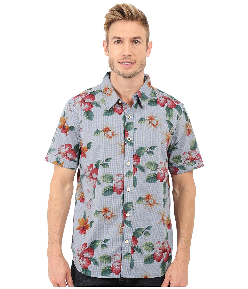 True Grit - Island Time Short Sleeve Shirt w/ Contrast (Chambray) Men's Short Sleeve Button Up