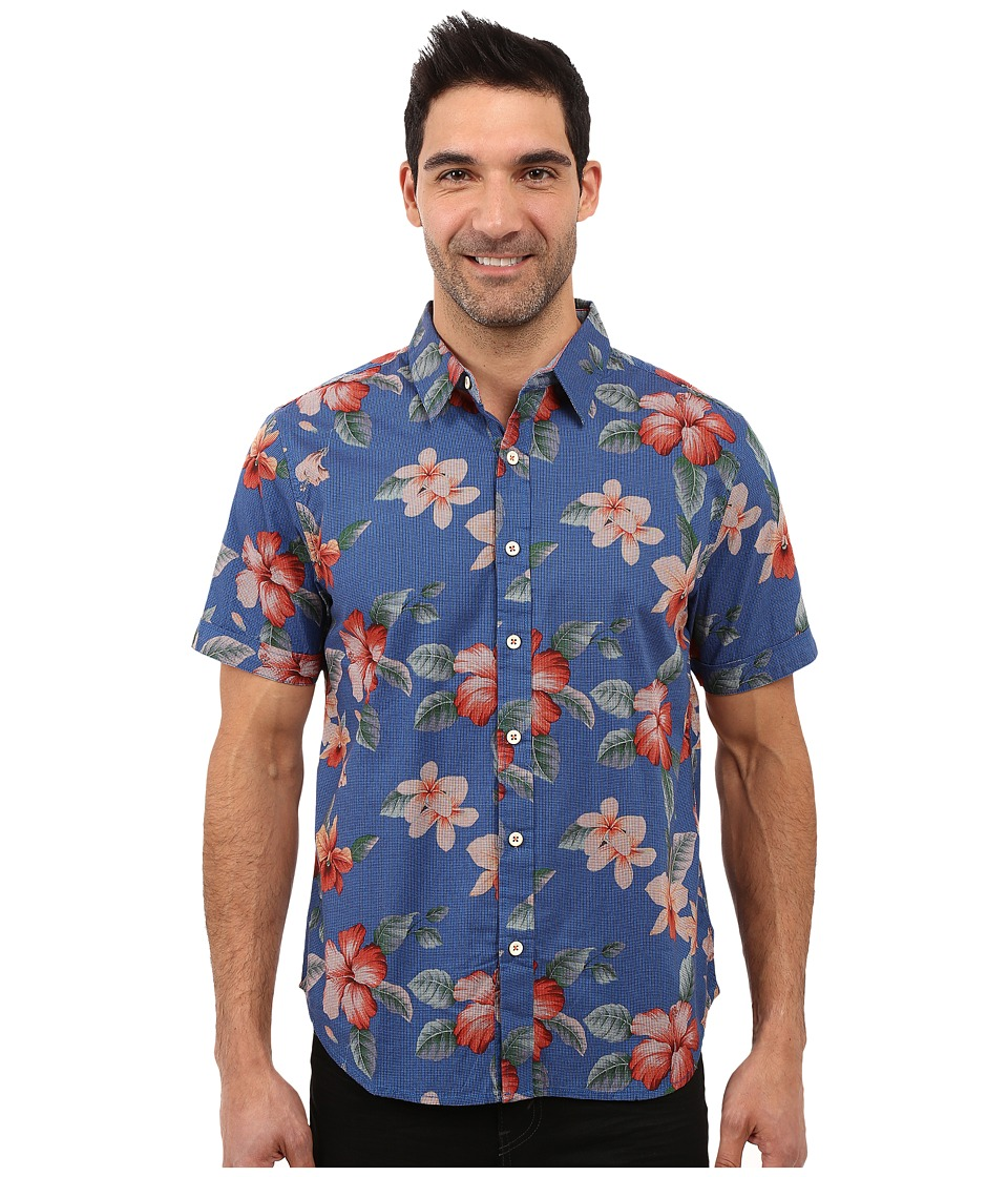 True Grit - Island Time Short Sleeve Shirt w/ Contrast (Blue) Men's Short Sleeve Button Up