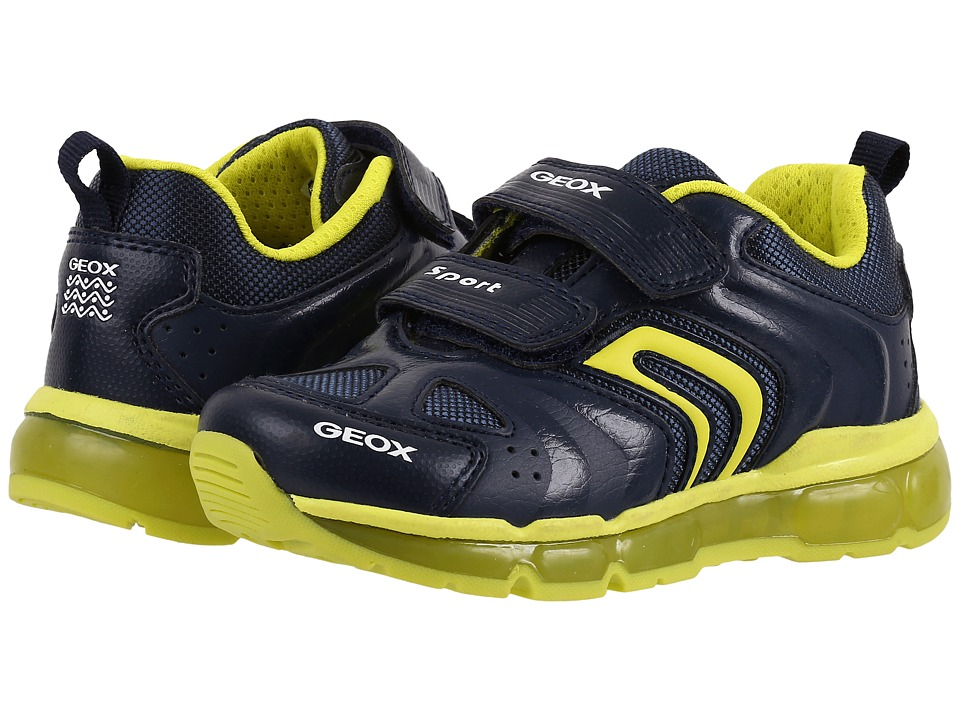 Geox Kids - Jr Android Boy 9 (Toddler/Little Kid) (Navy/Lime) Boy's Shoes