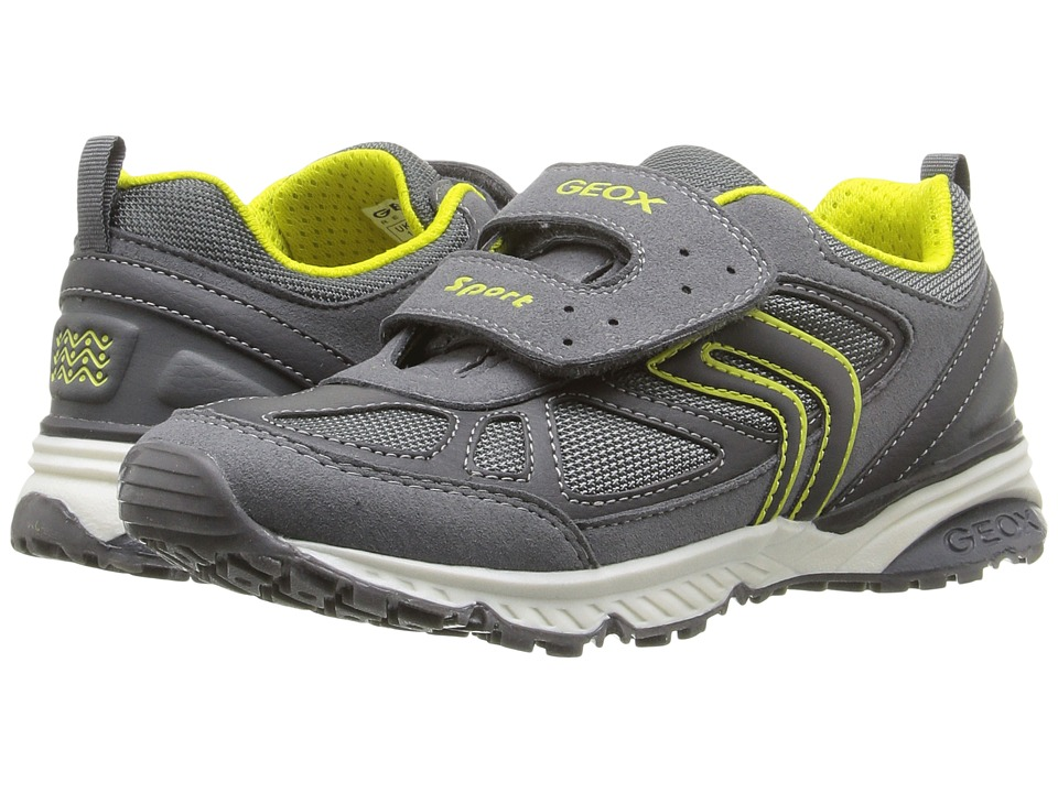 Geox Kids - Jr Bernie 14 (Little Kid/Big Kid) (Grey/Lime) Boy's Shoes