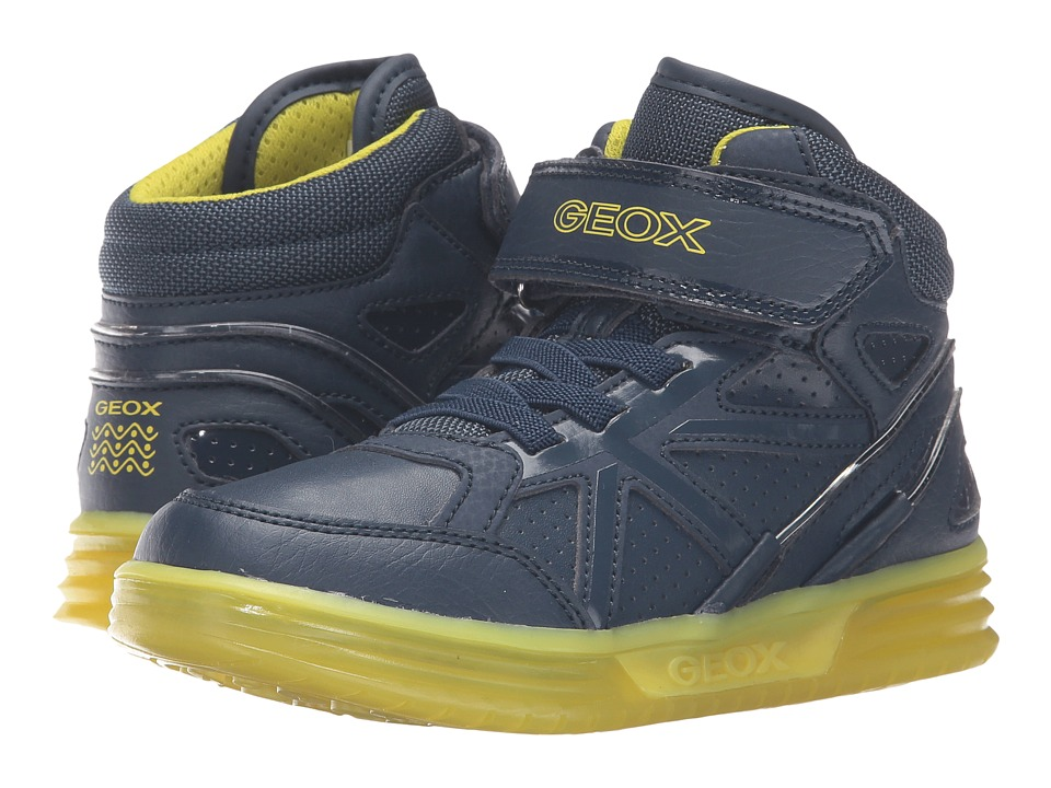 Geox Kids - Jr Argonat Boy 5 (Little Kid/Big Kid) (Navy/Lime) Boy's Shoes