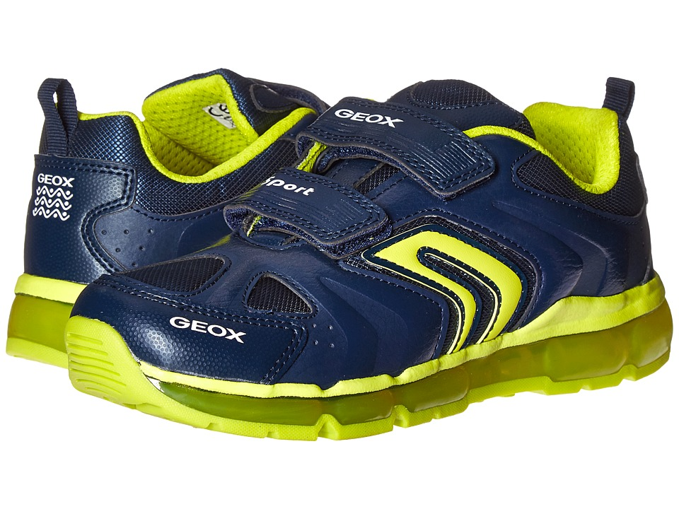 Geox Kids - Jr Android Boy 9 (Little Kid/Big Kid) (Navy/Lime) Boy's Shoes