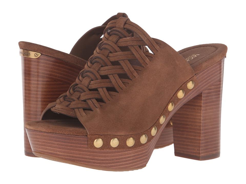 MICHAEL Michael Kors Westley Mule Dark Caramel Sport Suede Clog-Mule Shoes
