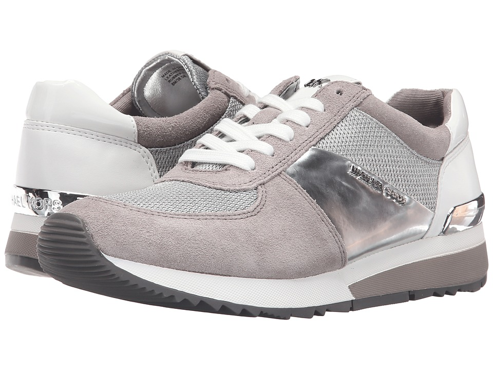 MICHAEL Michael Kors - Allie Trainer (Silver/Pearl Grey Mini Bike Mesh/Sport Suede/Nappa) Women's Lace up casual Shoes