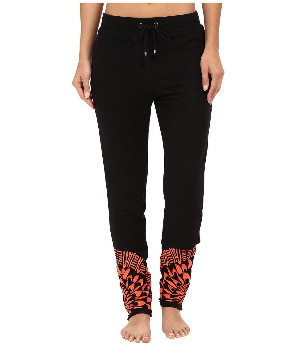 Mara Hoffman Peacfield Sweatpants (Black/Coral) Women's Casual Pants