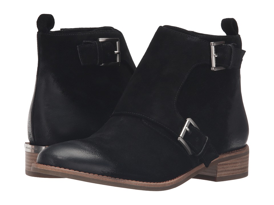 MICHAEL Michael Kors - Adams Monk Strap Bootie (Black Sport Suede) Women's Boots