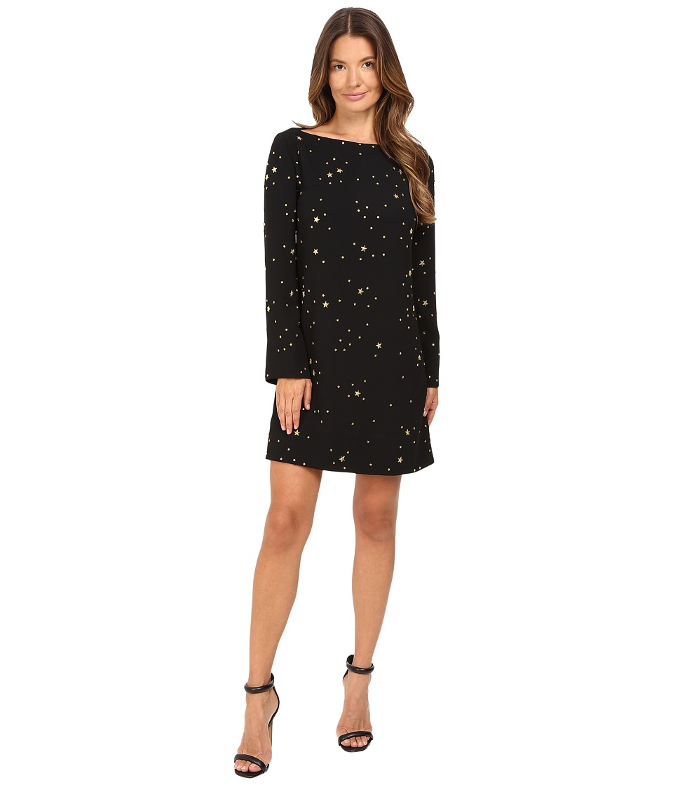 Versace Collection - Boat Neck Long Sleeves Dress (Black/Stars) Women's Dress