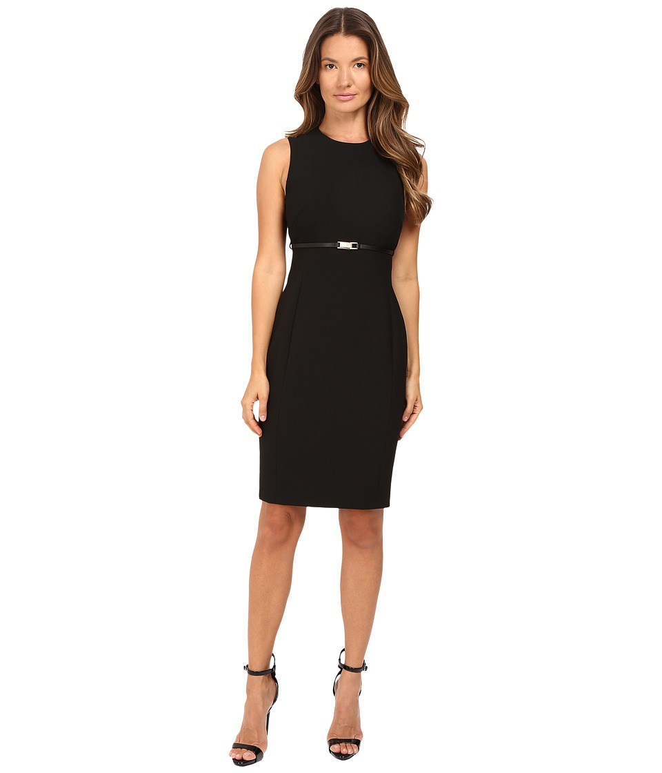 Versace Collection - Sheath Belted Sleeveless Dress (Black) Women's Dress