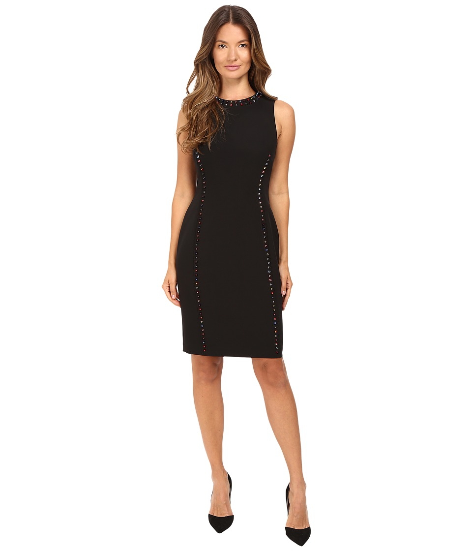 Versace Collection Crew Neck Sleeveless Sheath with Color Studs Black Dress