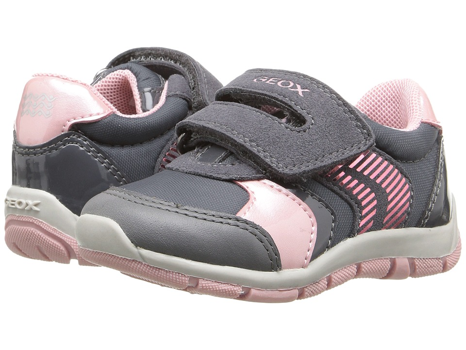 Geox Kids - Baby Shaax Girl 13 (Toddler) (Dark Grey/Pink) Girl's Shoes
