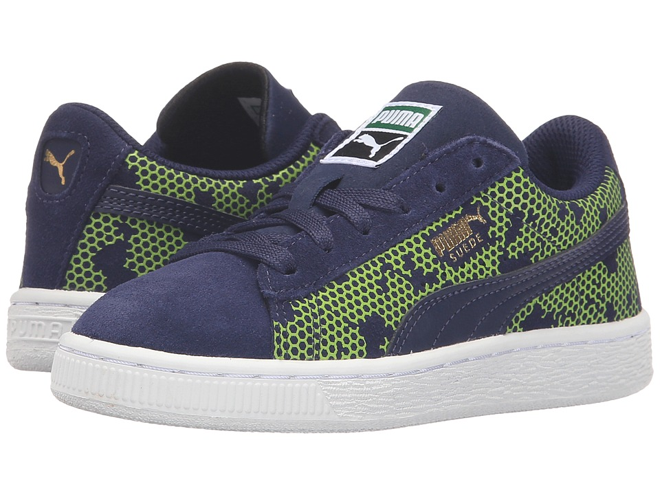 Puma Kids - Suede Night Camo PS (Little Kid/Big Kid) (Peacoat/Limepunch) Boys Shoes