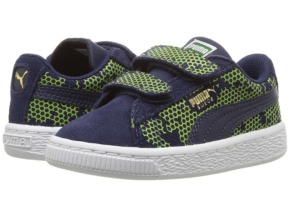 Puma Kids Suede Night Camo V Inf (Toddler) (Peacoat/Limepunch) Boys Shoes