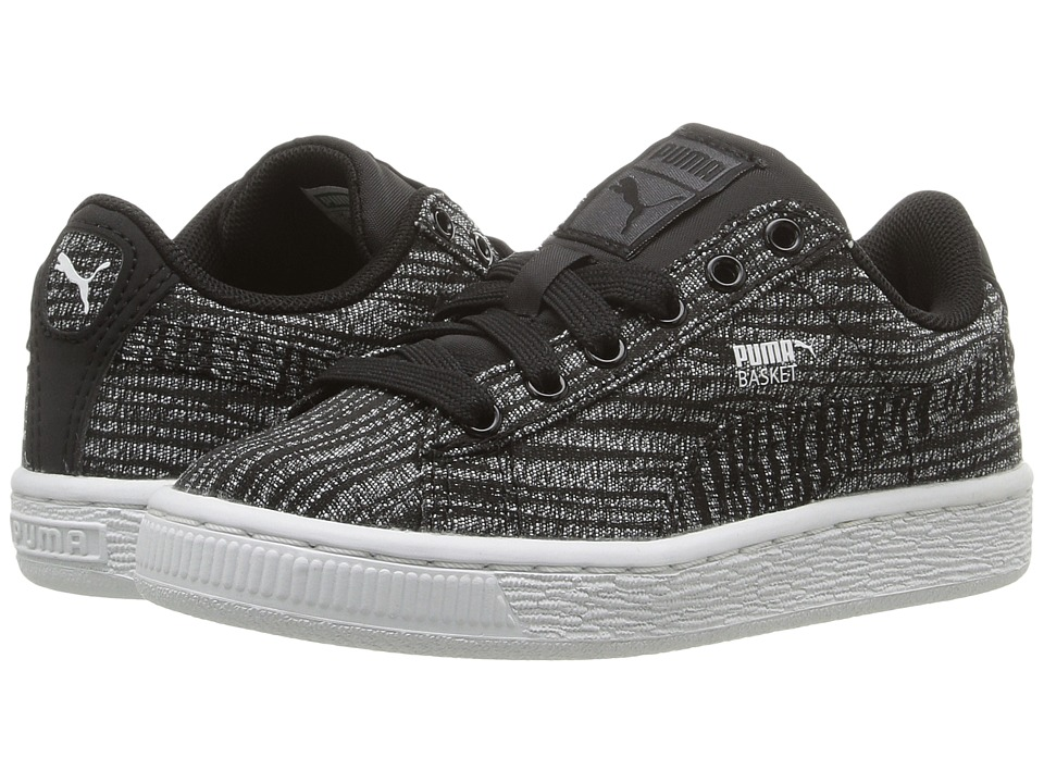 Puma Kids - Basket Classic Tiger Mesh PS (Little Kid/Big Kid) (Asphalt/Puma Black) Boys Shoes