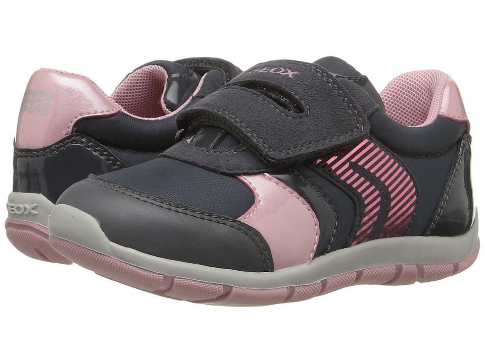 Geox Kids - Baby Shaax Girl 13 (Toddler) (Dark Grey/Pink) Girl's Shoes