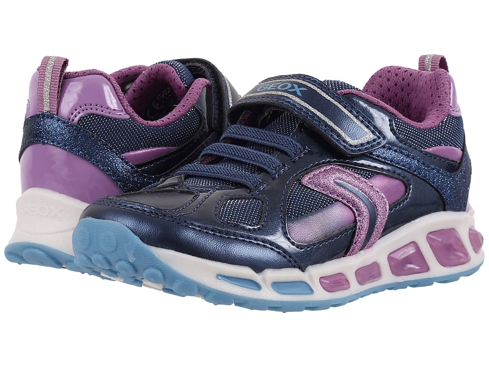 Geox Kids - Jr Shuttle Girl 8 (Toddler/Little Kid) (Navy/Lilac) Girl's Shoes