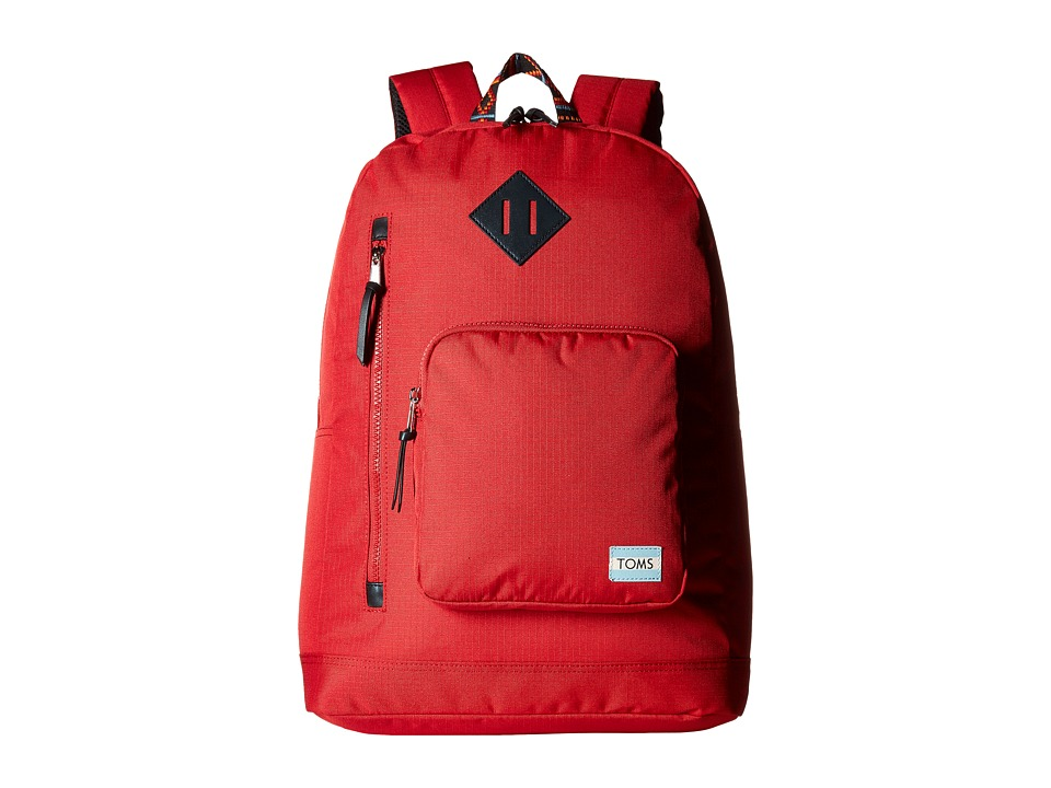 TOMS - Solid Ripstop New Backpack (Bright Red) Backpack Bags