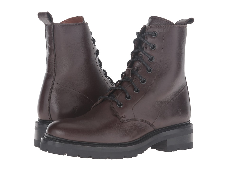 Frye Julie Combat (Chocolate Soft Full Grain) Women
