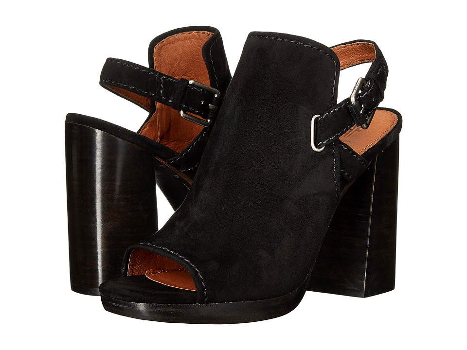 Frye - Karissa Shield Sling (Black Suede) Women's Shoes