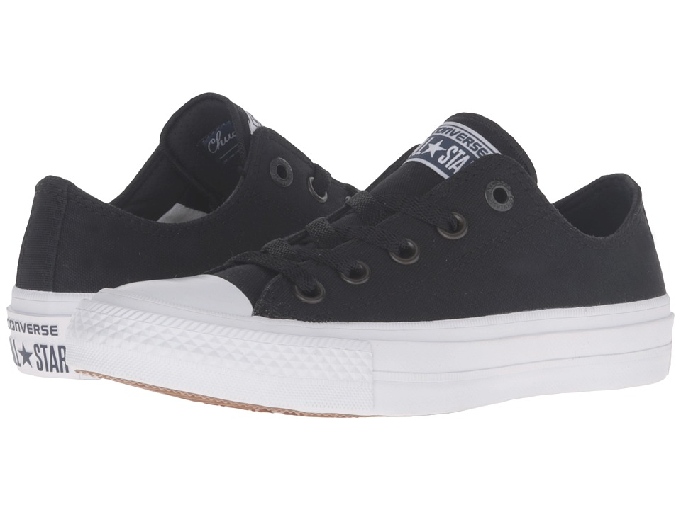 Converse Kids - Chuck Taylor All Star II Ox (Big Kid) (Black/White/Navy) Kid's Shoes