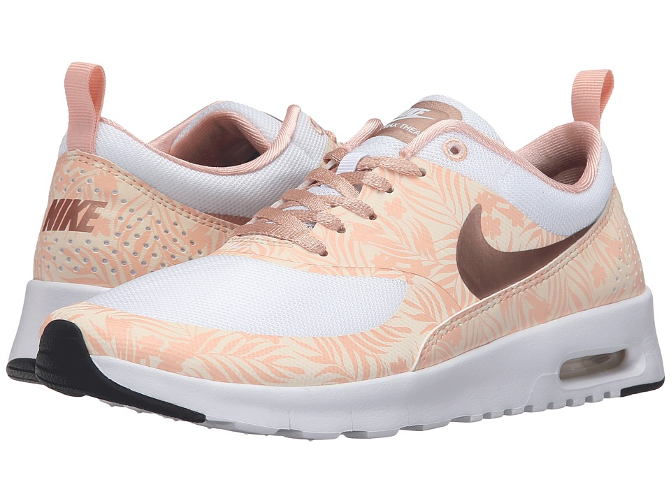 Nike Kids - Air Max Thea Print (Big Kid) (White/Pearl White/Arctic Orange/Metallic Red Bronze) Girls Shoes