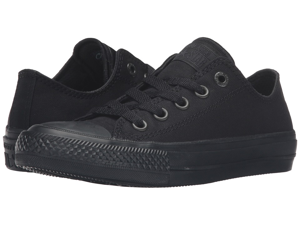 Converse Kids - Chuck Taylor All Star II Ox (Big Kid) (Black/Black/Black) Kid's Shoes