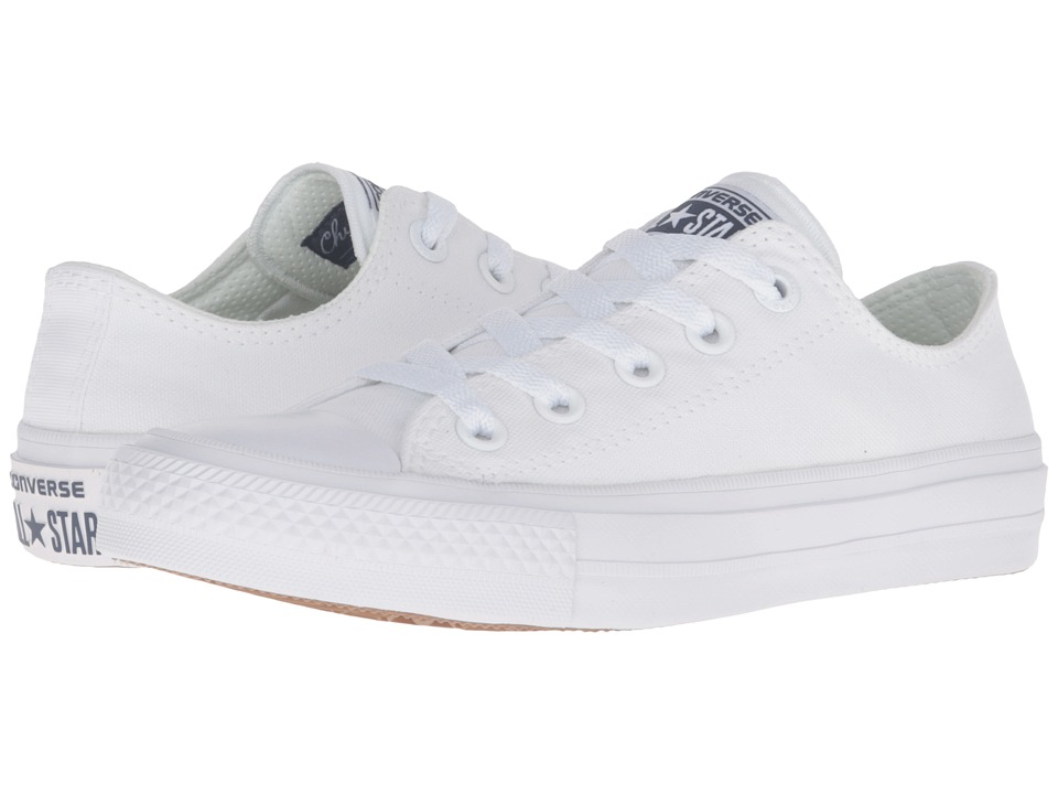 Converse Kids - Chuck Taylor All Star II Ox (Big Kid) (White/White/Navy) Kid's Shoes