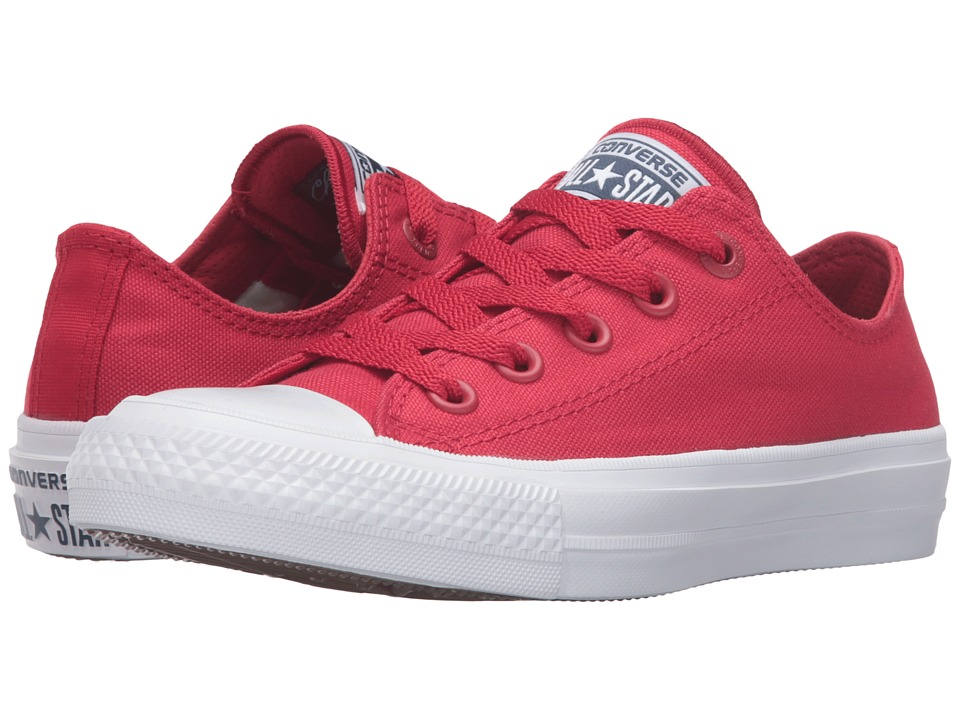 Converse Kids - Chuck Taylor All Star II Ox (Big Kid) (Salsa Red/White/Navy) Kid's Shoes
