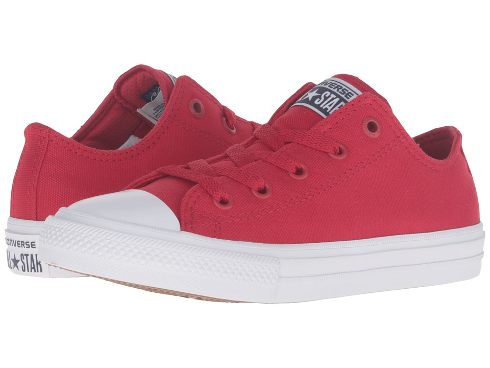 Converse Kids - Chuck Taylor All Star II Ox (Little Kid) (Salsa Red/White/Navy) Kid's Shoes
