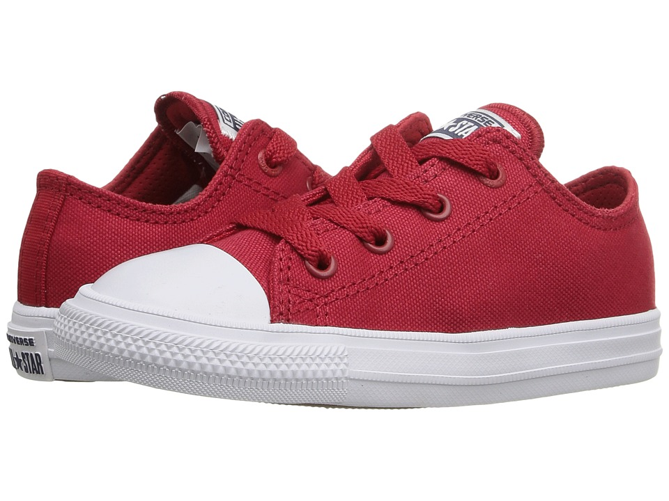 Converse Kids - Chuck Taylor All Star II Ox (Infant/Toddler) (Salsa Red/White/Navy) Kid's Shoes