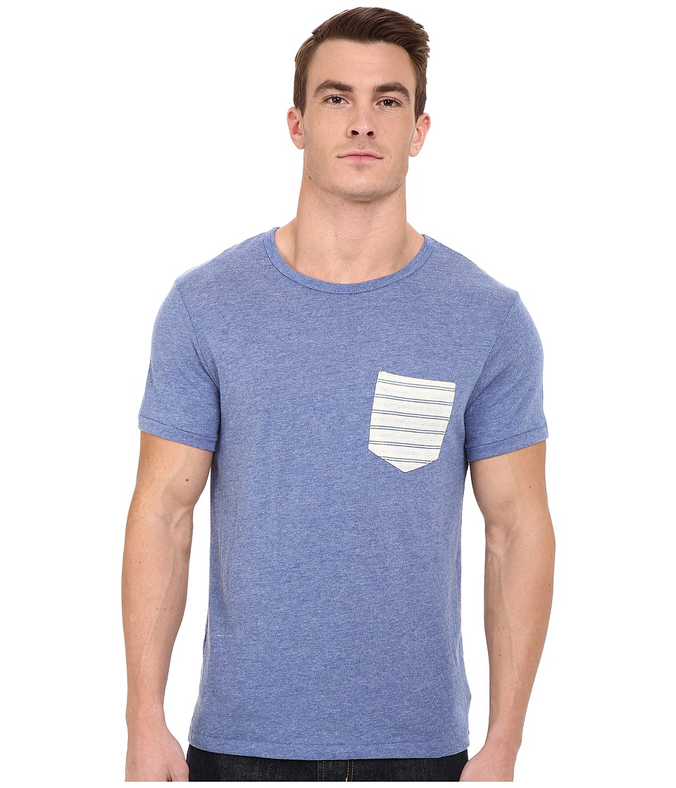 Alternative - Pocket Crew (Eco Pacific Blue/Eco Wheat Stitch Stripe) Men's Short Sleeve Pullover
