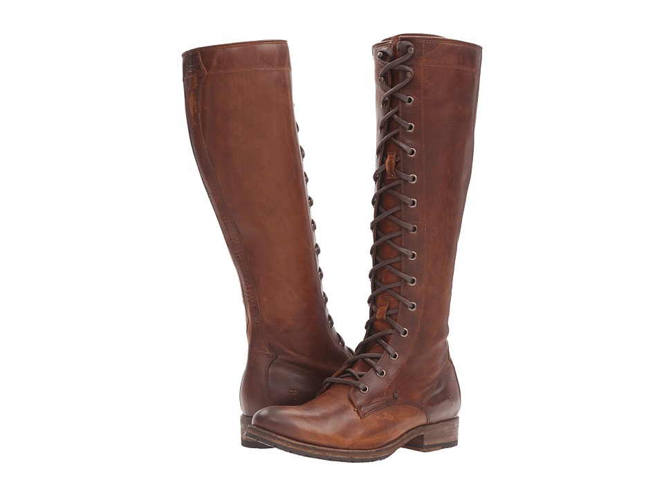 Frye - Melissa Tall Lace (Cognac Washed Antique Pull Up) Women's Lace-up Boots