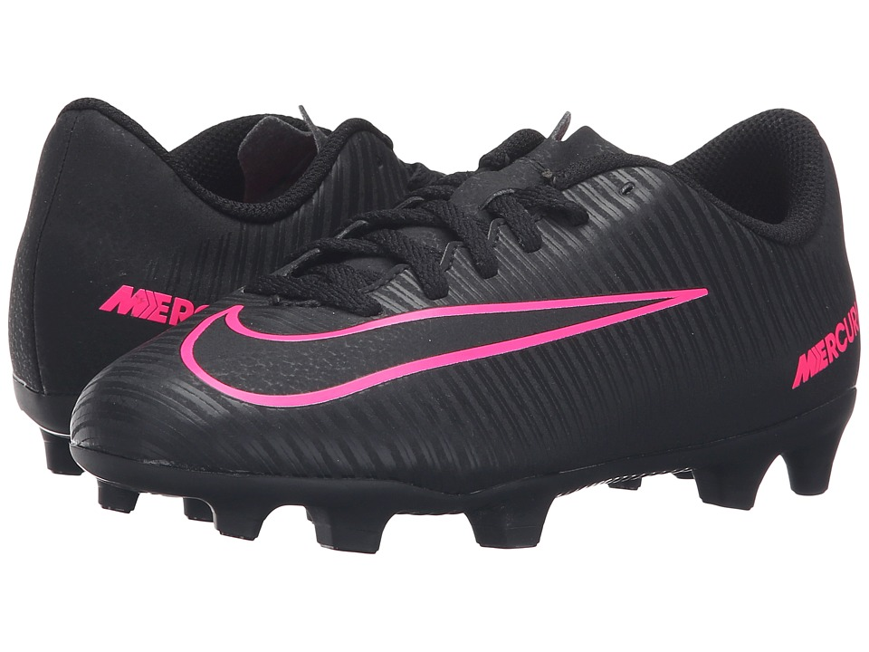 Nike Kids - Jr Mercurial Vortex III FG Soccer (Little Kid/Big Kid) (Black/Black) Kids Shoes