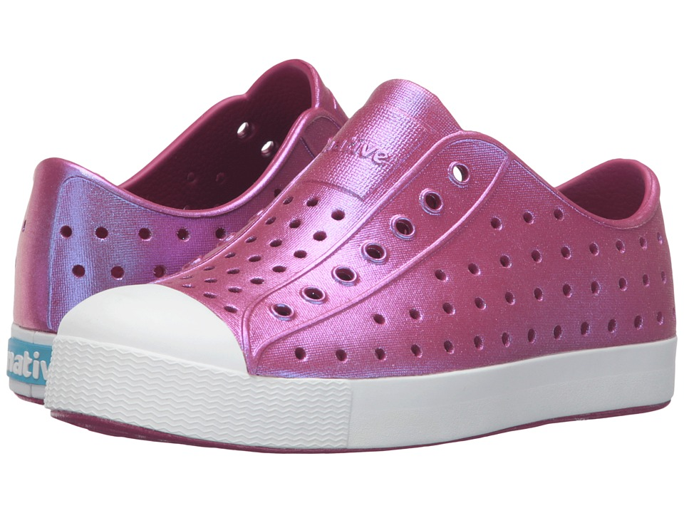 Native Kids Shoes - Jefferson Iridescent (Little Kid) (Raspberry Red/Shell White/Galaxy) Girls Shoes