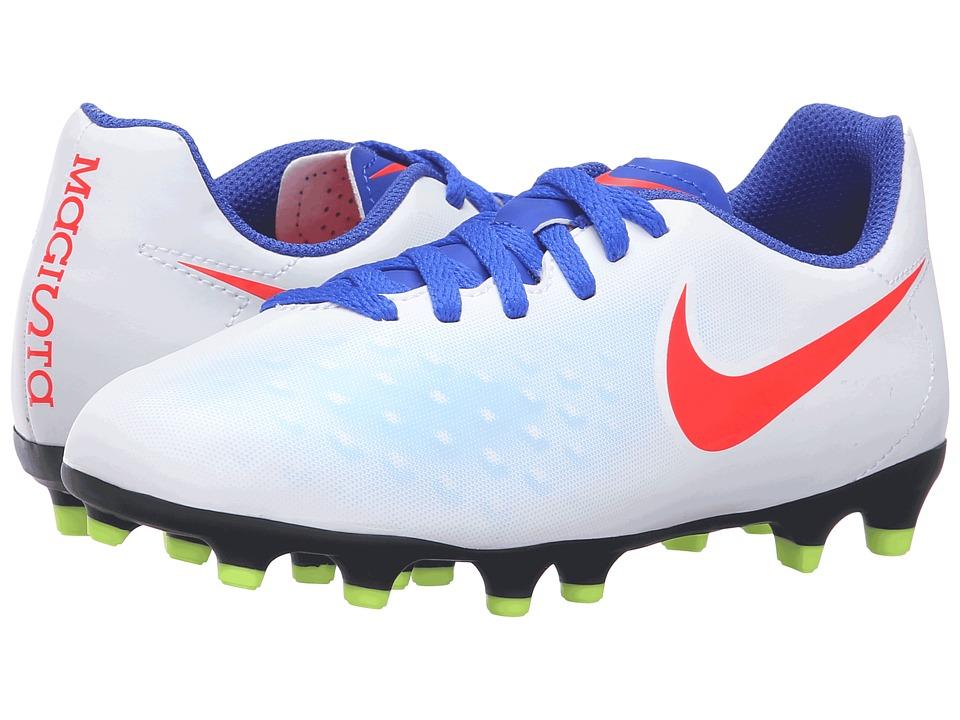 Nike Kids - Jr Magista Ola II FG Soccer (Little Kid/Big Kid) (White/Racer Blue/Volt/Bright Crimson) Kids Shoes