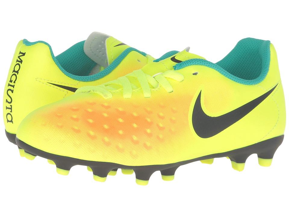 Nike Kids - Jr Magista Ola II FG Soccer (Little Kid/Big Kid) (Volt/Total Orange/Clear Jade/Black) Kids Shoes