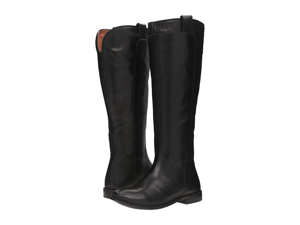 Frye Paige Tall Riding (Black Smooth Polished Veg) Women