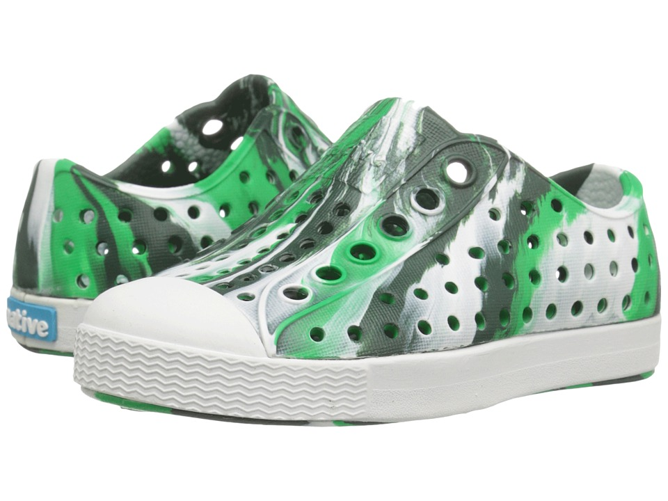 Native Kids Shoes - Jefferson Marbled (Toddler/Little Kid) (Lantern Green/Shell White/Marbled) Kids Shoes