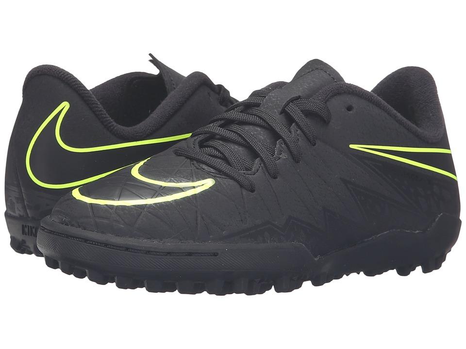 Nike Kids - Jr Hypervenom Phelon II TF (Toddler/Little Kid/Big Kid) (Black/Black) Kids Shoes