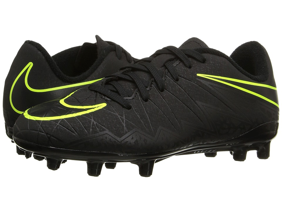 Nike Kids - Jr Hypervenom Phelon II FG (Toddler/Little Kid/Big Kid) (Black/Black) Kids Shoes
