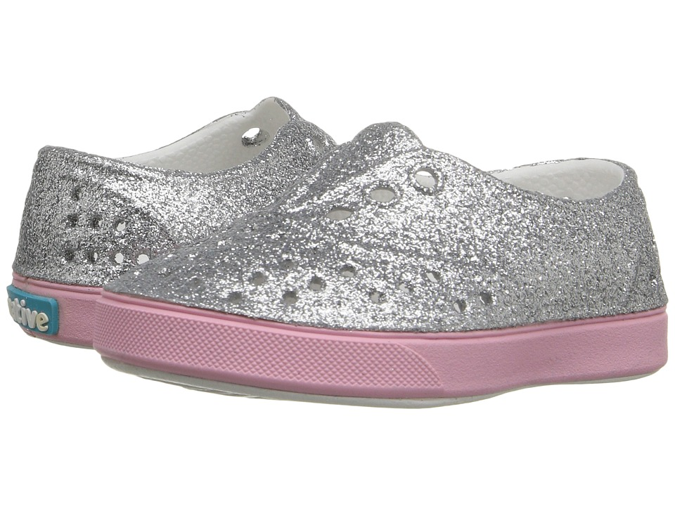 Native Kids Shoes - Miller Bling (Toddler/Little Kid) (Silver Bling/Princess Pink) Girl's Shoes