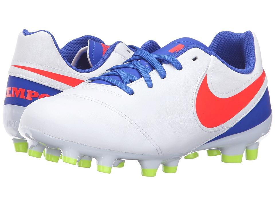 Nike Kids - Jr Tiempo Legend VI FG Soccer (Toddler/Little Kid/Big Kid) (White/Racer Blue/Volt/Bright Crimson) Kids Shoes