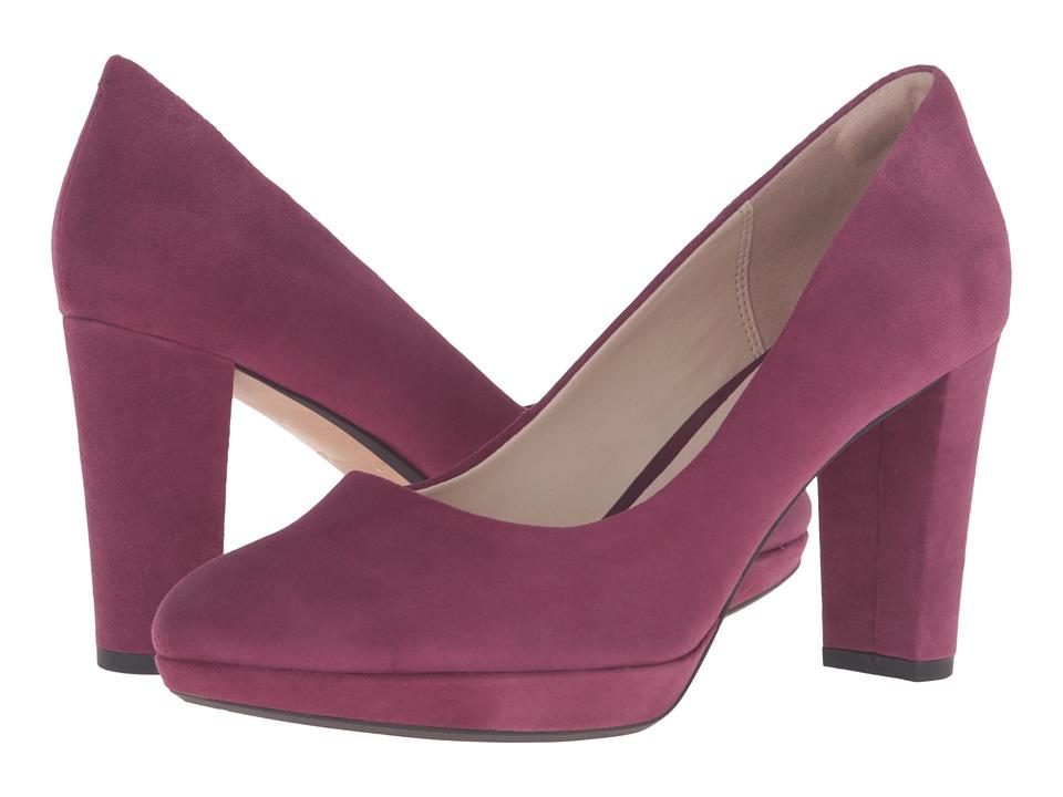 Clarks - Kendra Sienna (Plum Suede) High Heels